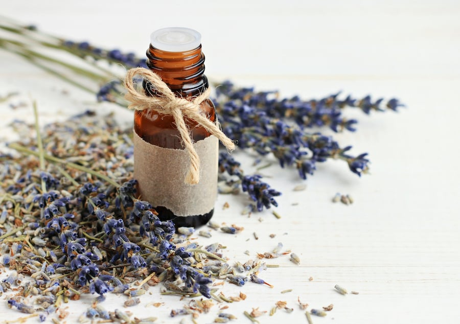 Dried lavender flowers next to essential oil bottle