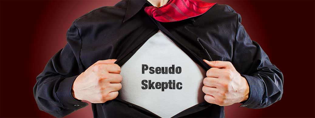 "Picture of a person wearing a t-shirt with the words ""Pseudo Skeptic"" on the front"