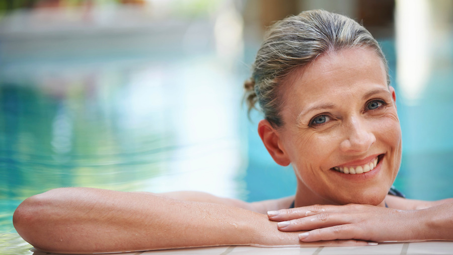 Mature woman in an indoor swimming pool